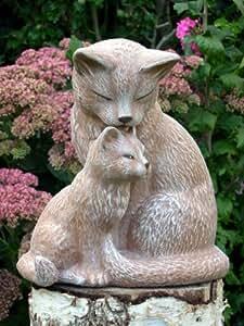 Steinfigur Katzenpaar Steinguss Terrakotta