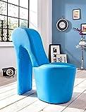 Schuhsessel Eve 42x99x97 cm Kunstleder blau High Heel Stuhl Designersessel mit Nieten Hocker Designerstuhl