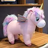 DWSM 1 Pezzo Ripieno Animali Bambola Gigante Unicocorn Giocattolo Arcobaleno Ali Unicorni Peluche Giocattolo Capelli Vola Cavallo Giocattoli per Bambino Circa 45X40Cm Unicorno Rosa