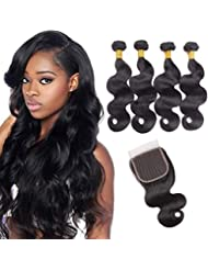 Brazilian Virgin Human Hair 4 Bundles Body Wave with Lace Closure Unprocessed Human Hair Extensions Natural Black Colour (16 18 20 22+16 inches)