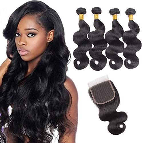 an Hair 4 Bundles Body Wave with Lace Closure Unprocessed Human Hair Extensions Natural Black Colour (16 18 20 22+16 inches) ()