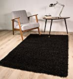 Thick Modern Small Medium Soft Anti Shed Luxury Vibrant Shaggy Rugs - 12 Colours & 5 Sizes Available (Black 80x150cm)