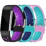 Maledan Ersatzarmband für Fitbit Charge 2, Größe S und L Größe L Hole-black purple, teal blue, pink teal