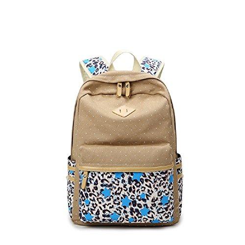 MAIBU Beiläufige Segeltuch -Schule-Rucksack-Laptop-Beutel-Schulter-Beutel-Rucksack-Reisen Daypack Leopard-khaki