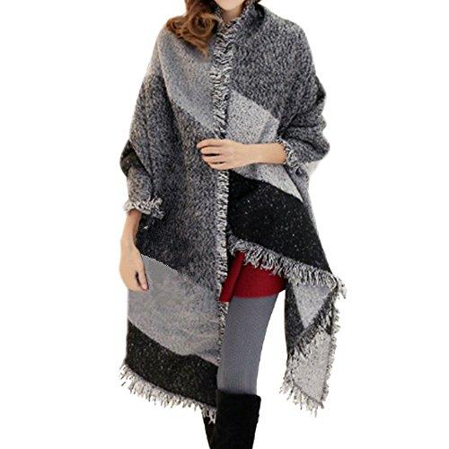 Scialle donna invernale grande vintage elegante sciarpa tartan geometric caldo foulard stola plaid nappe mantella autunno inverno scarf cardigan oversize - bienbien
