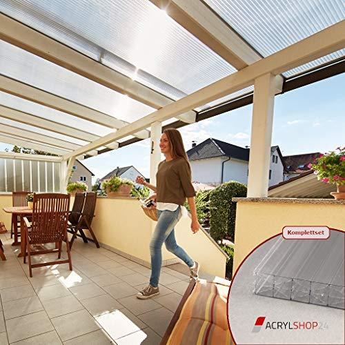 ACRYLSHOP24 Terrassendach Terrassenüberdachung Carport Komplettset Polycarbonat 16mm X-Struktur Stegplatten farblos 16mm Stegplatten Tiefe:4000mm|Breite:4080mm - Mehrere Maße verfügbar