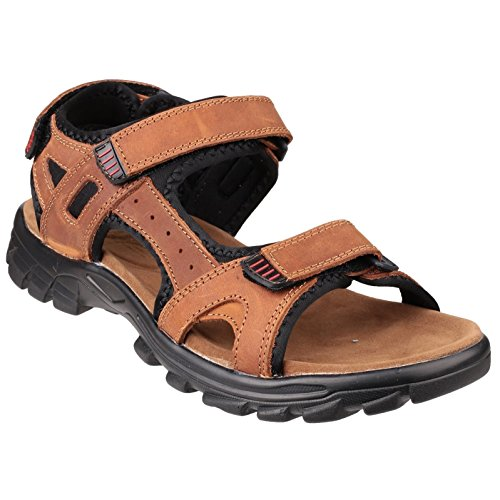 Amblers KARL Mens Triple Velcro Nubuck Sports Sandals Brown 40 (Braun Casual Schuh Velcro)