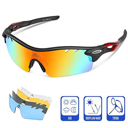 HODGSON Polarisierter Sport Sonnenbrille für Herren und Damen Fahren Golf Laufen Radsport Superleichtes Rahmen (Schwarz/Rot)