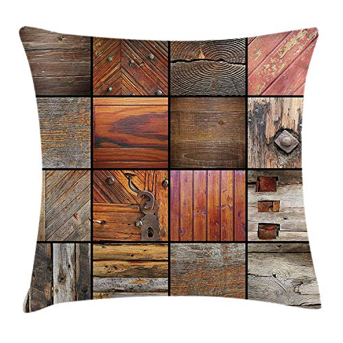 EJjheadband Antique Throw Pillow Cushion Cover, Assortment of Different Wooden Architecture Elements Timber Door Key Print, Decorative Square Accent Pillow Case, 18 X 18 Inches, Chocolate Brown