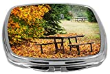 Rikki Knight Compact Mirror, Picnic Table In Park With Autumn Leaves, 3 Ounce Amazon