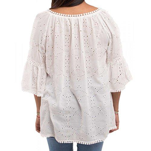 Blouse bohème en coton & dentelle blanche manches courtes évasées & cordons à pompons- Blanc