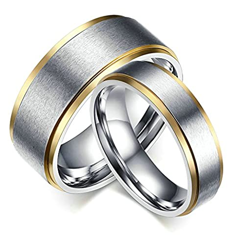 Beydodo Stainless Steel Ring For Women (Wedding Bands),Plain Matte Finished IP 1PC Silver Gold Size X 1/2