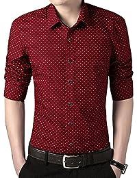 7598de6e31cf1 Camisas a lunares Para Hombre Moda de Manga Larga Slim Fit Casual M L