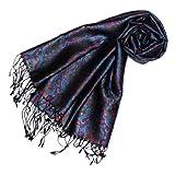 Lorenzo Cana Luxus Pashmina Damen Schal Schaltuch jacquard gewebt 100% Seide 55 x 180 cm Paisley Muster Seidenschal Seidentuch Seidenpashmina harmonische Farben
