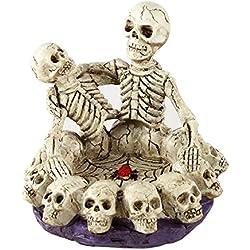 LUOEM Decoración de Halloween Calaveras dobles creativas que se ven entre sí Resina Cenicero de cráneo humano Ornamento casero Scary Bar Decor Accesorios de sala de fumadores Regalo de cumpleaños de Navidad para amigos