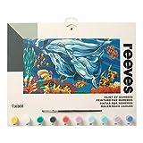 Reeves PL119 Malen nach Zahlen, Größe 30 x40 cm - Motiv: Delfine - 1 Pinsel, 7 Acrylfarben in 5ml Töpfchen