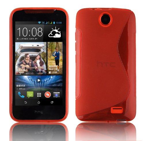 Cadorabo Hülle für HTC Desire 310 Hülle in INFERNO Rot Handyhülle aus flexiblem TPU Silikon im S-Line Design Silikonhülle Schutzhülle Soft Back Cover Case Bumper Inferno-Rot