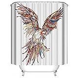 HUIYIYANG Bunter Papageien Weiß Hintergrund des Tier Themas Kundenspezifischer Wasserdichter Polyester Gewebe Badezimmer Duschvorhang 48