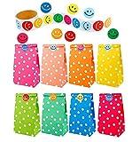 40 Piezas de Papel Bolsas de Regalo patrón de Puntos con un Rollo de 100 Pegatinas de Cara Sonriente para los niños Suministros Fiesta de cumpleaños, 8 Colores