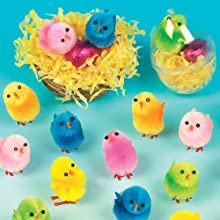 Baker Ross Colored Mini Fluffy Chicks (Pack of 12) K693, For Adding to Cake Decoration Models, Displays or Easter Hunt Activities