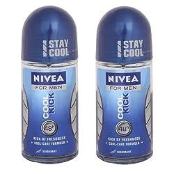 Nivea Cool Kick Roll On For Men, 50ml (Pack of 2)