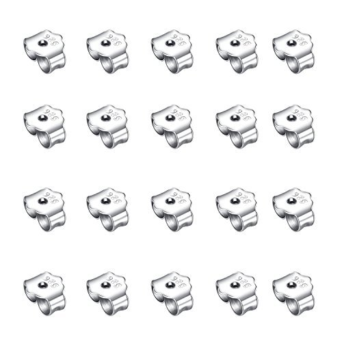 honbay 20925reinem Silber Ohr Plugs Sterling Ohrring Rücken 4mm für die Löcher sind für 20Gauge Stellen (Ohr Gauge 4)