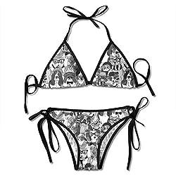 Osmykqe Conjuntos de Bikini Sexy para Mujeres, Gatos y Perros de Moda con Gafas Patrón de Trajes de baño para Mujeres