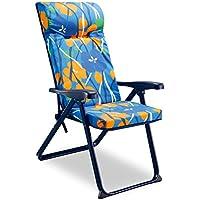 Solenny Silla plegable de jardín con acolchado de 6 cm. de grosor, reposacabezas y 6 posiciones, tubo oval, estampado naranja y azul