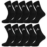 sockenkauf24 i1R Lot de 10 paires de chaussettes de sport en coton noir ou blanc - Noir - 39-42