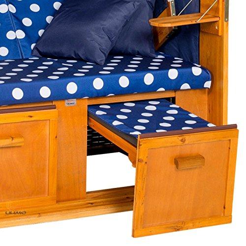 Strandkorb OSTSEE BDW blau, Geflecht weiß, blau-weiß gepunktet, mit Hülle, von LILIMO ® - 6
