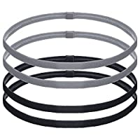 Bememo 4 Pieces Thick Non-slip Elastic Sport Headbands Hair Headbands for Women and Men, Black and Grey