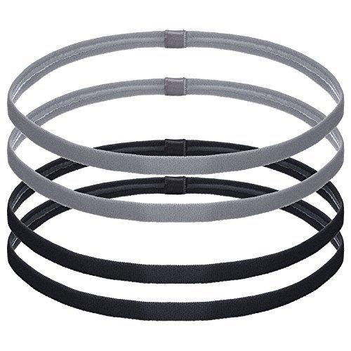 bememo 4 pezzi spesse fasce elastico non scivolo fasce per capelli da sport per donne e uomini, nero e grigio