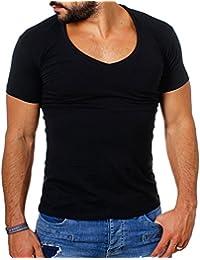 733c3f0b68a0 Young   Rich   Rerock Herren Uni T-Shirt mit extra tiefem V-Ausschnitt  slimfit deep V-Neck stretch dehnbar einfarbiges…