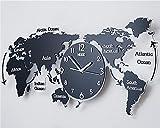 FUXINGXING Le Monde Créatif Moderne Et Minimaliste La Carte Horloge Murale, Petit Salon Personnalisé Horloge Murale Mute,74 * 34Cm,Un