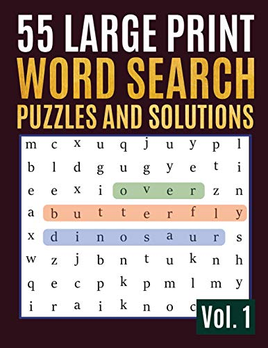 55 Large Print Word Search Puzzles and Solutions: