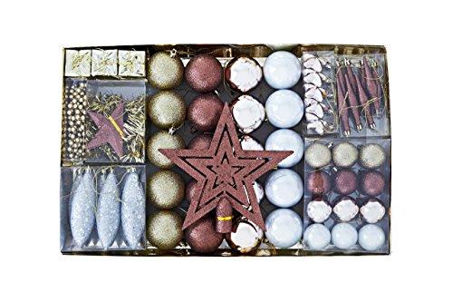Heitmann Deco Weihnachtsbaum-Schmuck - gold / braun / perlmutt - 60-teilig - Set inkl. Baumspitze, Kugeln, Perlkette, Girlande und Sterne - Kunststoff