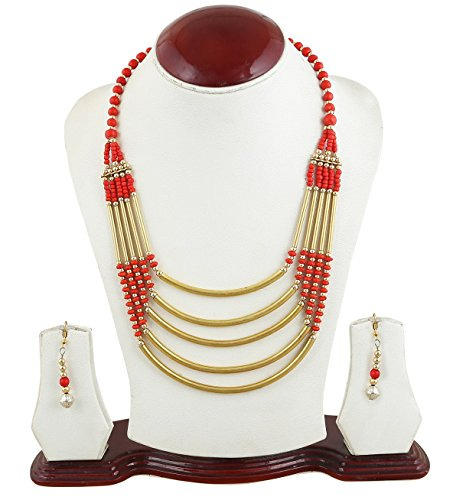 Arittra Red Golden five strip brass rani haar ethnic\traditional\tribal style designer Necklace Set with earrings for women and girls  available at amazon for Rs.250