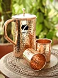 #10: Zafos Handmade Hammered Copper Jug Pitcher Set, 3-Pieces, Brown
