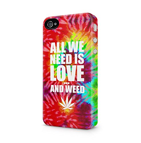 Fall 4 Iphone Boho (Tye Dye All We Need Is Love And Weed Apple iPhone 4 / iPhone 4S SnapOn Hard Plastic Phone Protective Fall Handyhülle Case Cover)