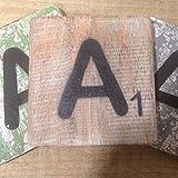 Holzbuchstaben, Deko Buchstaben aus Holz, im Scrabble-Look quadratisch Größe ca. 10 cm x 10 cm, Shabby Chic, Balsa Holz, Buchstabe A