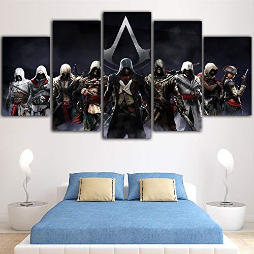 HQATPR 5 Teile Set Für Malen 5 Teile Leinwand Nordic Home Decor Assassins Creed Poster Kunst Leinwand Malerei Home Decor WandbilderMit Rahmen - Poster Set Teile