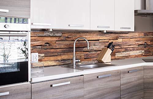 DIMEX LINE Küchenrückwand Folie selbstklebend HOLZWAND 260 x 60 cm | Klebefolie - Dekofolie - Spritzschutz für Küche | Premium QUALITÄT