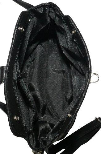 Vero cuoio italiano morbido o effetto struzzo, attraversare il piccolo corpo o spalla borsetta.Include una custodia protettiva marca Nero (nero)