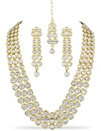 Karatcart Anushka Sharma Bollywood Inspired Traditional Kundan Pearl Necklace Set For Women with Freebie Maang-Tikka