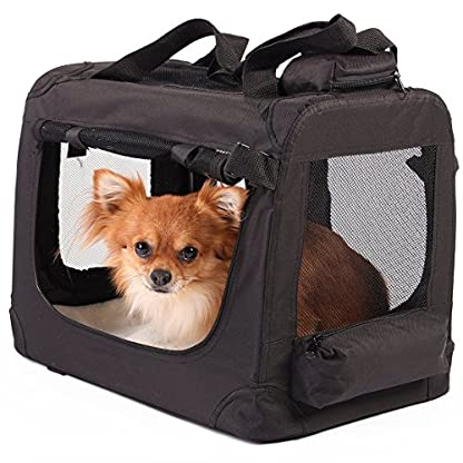 TRESKO® Folding Portable Soft Fabric Pet Carrier with Fleece Mat and Food Bag (S 49 x 32 x 35 cm, Beige) 3