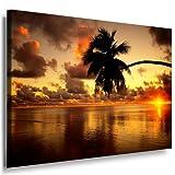 Bild auf Leinwand Strand Palme Sonnenuntergang Bild 100x70cm / Leinwandbild fertig auf Keilrahmen / Leinwandbilder, Wandbilder, Poster, Pop Art Gemälde, Kunst - Deko Bilder