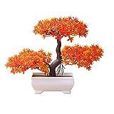 Steellwingsf Accogliente Pino Bonsai Simulazione Artificiale Vaso pianta Ornamento Home Decor scrivania Ornamento Sunset Red