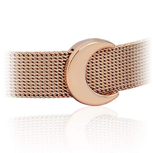 SUNIANA®-Charm ♥Halbmond♥ Anhänger für Mesh Armband und Armreif|Charmband| MondMoon Charms (Rosegold)