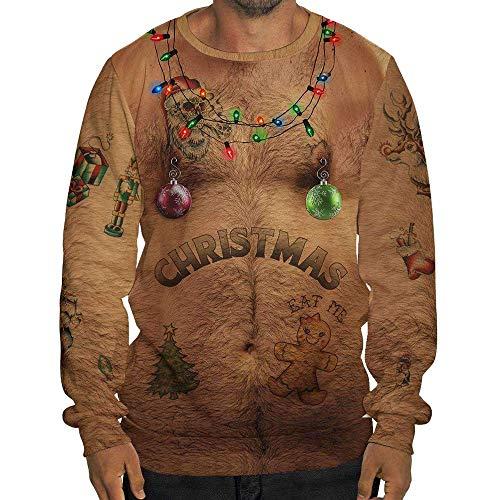 FRAUIT Herren Lustig Weihnachten 3D Drucken Mit Kapuze Lange ÄRmel Tasche Pullover Drucken Hässlich Hemd Weihnachtspullover Sweatshirt Christmas Xmas Schneeflocken Sweater