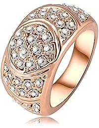 UltiFit (TM) de la nueva llegada del anillo de compromiso de 18 quilates de oro rosa Placa anillos de las mujeres hechas con elementos de la SWA genuino cristal austriaco de 24 * 12 mm Ri-HQ0071